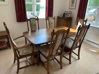 ERCOL Golden Dawn Elm Extending Dining Table & Six Chairs - EXCELLENT Condition • 250£