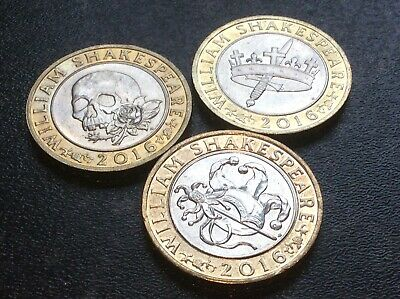 £2 Coins. Shakespeare Trio. All Three Coins. Dated 2016. Good Circ Condition. • 9.99£