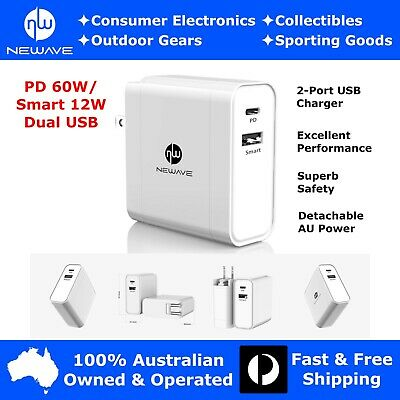 AU29.49 • Buy NEWAVE 60W PD Dual USB Fast Quick Wall Charger Adapter 4 Phone Tablet PC Laptop