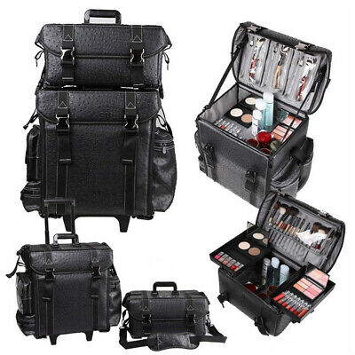 2 In 1 Professional Makeup Artist Rolling Case Cosmetic Organizer Soft Trolley • 132.97£