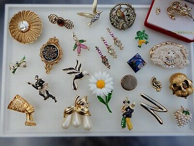 $ CDN16.71 • Buy Vintage Brooch Lot Rhinestone Enamel Signed Unsigned Gold Tone Figural Egyptian