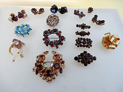 $ CDN14.03 • Buy ALL Signed Austria Vintage Lot Brooches Earrings Rhinestones Enamel
