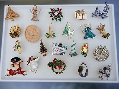$ CDN5.59 • Buy Vintage Jewelry Lot Rhinestone Christmas Tree Pin Brooch Holiday Pins Lot