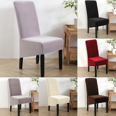 Velvet Dining Chair Covers XL Size High Back Chair Slipcovers Banquet Seat Cover • 8.99£