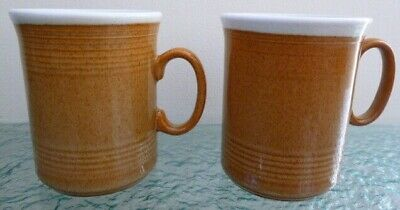 Vintage Pair Of Just Mugs Handmade In England Ceramic Pottery Cinnamon & White • 12.99£