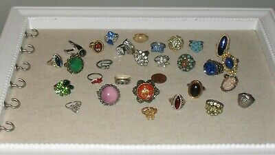 $ CDN24.99 • Buy Huge Vintage Ring Lot 29 Pc. Cameo Mood Mosaic Rhinestone Some Signed As Is