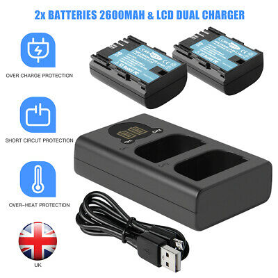 2x LP-E6 7.4V Battery & LCD Charger For Canon EOS 70D 7D 60D 5DS 5D Mark II III • 29.89£