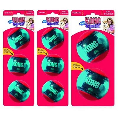 £8.95 • Buy KONG Squeezz Action Balls Dog Toy S/M/L Squeaky Puppy Fetch Bouncy Ball Or Treat