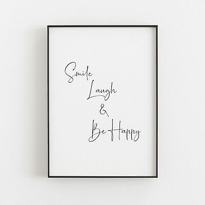 Smile Laugh & Be Happy Typography Wall Art Print Poster Inspirational Quote • 5.49£