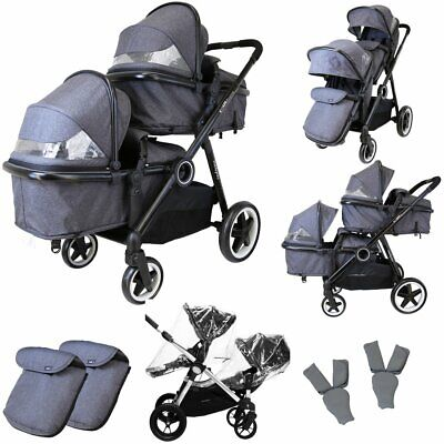 £44.95 • Buy Baby Tandem Double Twin Pram Travel System Grey + Carseat, Carrycot & Raincover