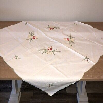 $ CDN26.07 • Buy Vintage Embroidered Christmas Tablecloth Topper 32  Square Candles  Bells Holly