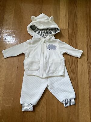 £5.77 • Buy Kyle And Deena Baby Outfit 0-3 Months Quilted Pants Hooded Sweatshirt Ivory