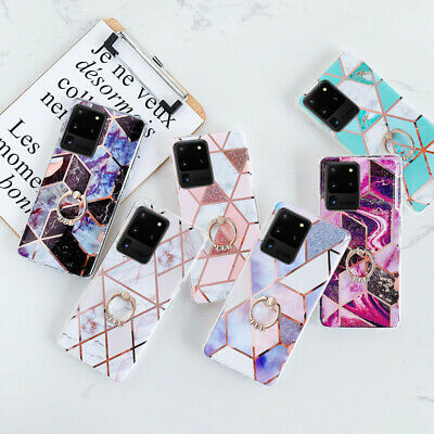 $ CDN5.22 • Buy For Samsung Galaxy S20 Ultra S10 A51 A71 Marble Silicone Ring Stand Case Cover