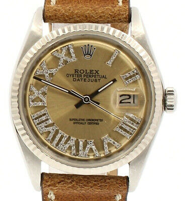$ CDN6410.25 • Buy Mens ROLEX Oyster Perpetual Date 36mm Gold Roman Dial Diamond Stainless Watch