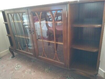 £90 • Buy Mahogany Wood Glass Fronted Bookcase Beautiful Condition.