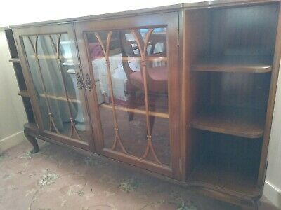 £90 • Buy Shirehall Mahogany Wood Glass Fronted Bookcase Beautiful Condition Lee Longlands