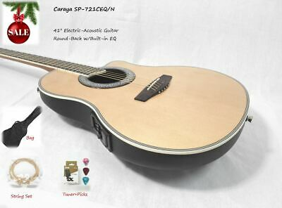 AU199 • Buy 41  Caraya 721CEQ/N Natural Round-Back Electro-Acoustic Guitar + Free Gig Bag