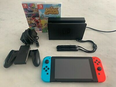 AU390 • Buy Nintendo Switch Neon Console NEAR NEW + Mario Kart And Animal Crossing