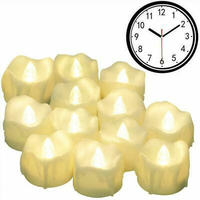12/24 PCS Timer Tea Lights Flickering Flameless Candles LED Battery Electronic • 12.99£