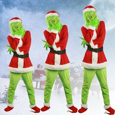 Adult Costume The Grinch Men Christmas Santa Xmas Cosplay Fancy Dress Outfit Set • 33.99£