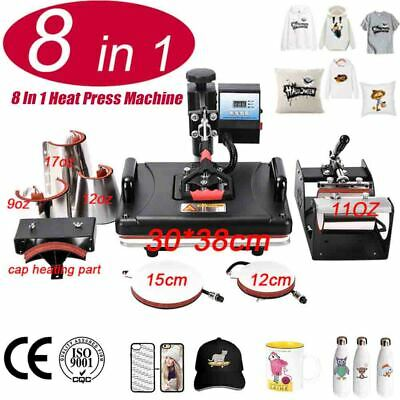AU606.36 • Buy 8 In 1 Heat Press Machine Sublimation Printer/shoe Transfer For Mug/Cap/T Shirt