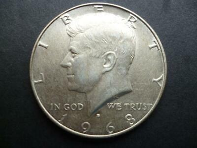 United States Of America Kennedy Half Dollar Coin 1968 40% Silver Good Condition • 8£