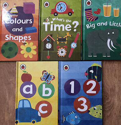 5 Ladybird Books ABC 123 Big & Little, Colours & Shapes, Whats The Time? Free PP • 8.50£
