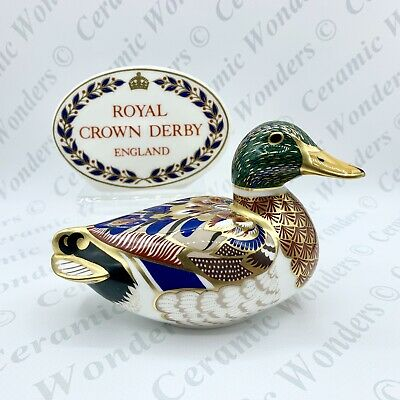 Royal Crown Derby Paperweight - Mallard Duck - 1st Quality - Gold Stopper • 60£