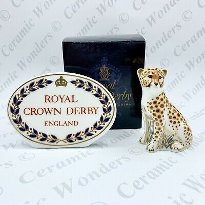 Royal Crown Derby Cheetah Cub Paperweight - 1st Quality - BOXED - Gold Stopper • 70£