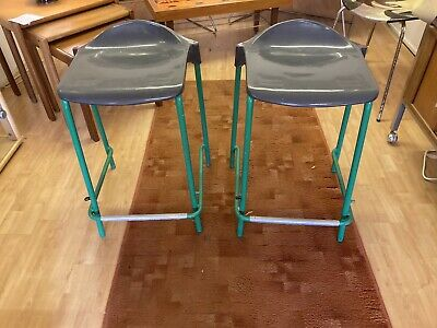 "Retro Gorgeous 1980s Metal Science Lab Stacking Stools X2 Green/chrome 22"" • 49.50£"