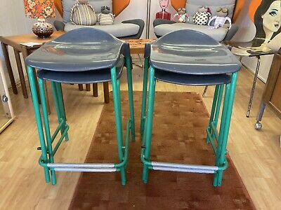 "Retro Gorgeous 1980s Metal Science Lab Stacking Stools X 4 Green/chrome 22"" • 95£"