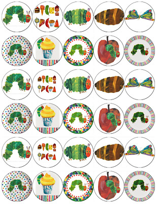 30 X The Very Hungry Caterpillar Cupcake Toppers Edible Paper Fairy Cake Toppers • 1.65£