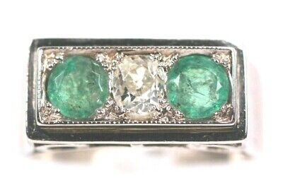 Art Deco Diamond Emerald Platinum Ring Circa 1920 • 895£