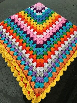 New  Crochet Christmas/Rainbow Baby Blanket Size 31 In For Pram Cot Moses Basket • 5£