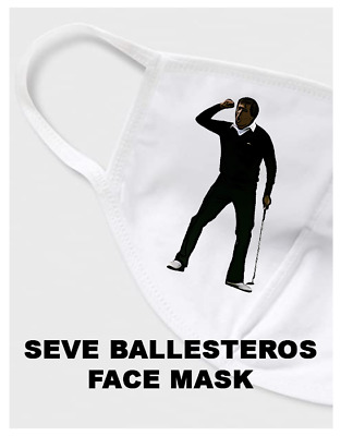Seve Ballesteros Golf Face Mask Covering Re-Usable 100% Cotton Autograph Signed • 5.99£