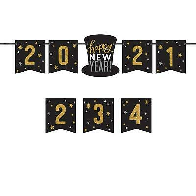 £6.09 • Buy Happy New Years Eve 2021 Customizable Gold Black Party Banner Decoration NYE