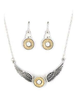 £13.03 • Buy 38 Special Bullet Necklace Earrings Angel Wing Winchester Western Jewelry Silver