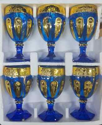 6 X Blue With Gold Design Footed Water / Juice / Wine Glasses Goblets • 14.99£