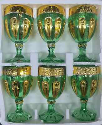 6 X Green With Gold Design Footed Water / Juice / Wine Glasses Goblets • 14.99£