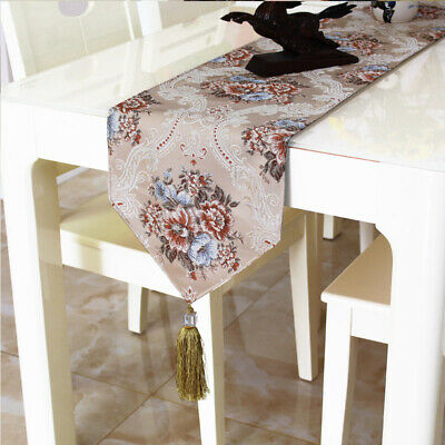 AU29.84 • Buy Jacquard Table Runner Tassel Floral Embroidered Tablecloth Kitchen Dining Decor