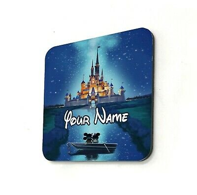 Disney Castle Mickey Minnie Mouse Love Personalised Cup Coaster Gift Custom Name • 2.99£