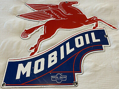$ CDN56.14 • Buy Vintage Mobiloil Porcelain Sign, Gas Station, Pump Plate, Mobil Pegasus, Oil