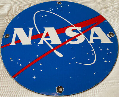 $ CDN26.72 • Buy Vintage Nasa Porcelain Sign Gas Oil Meatball Rocket Shuttle Space Agency Force