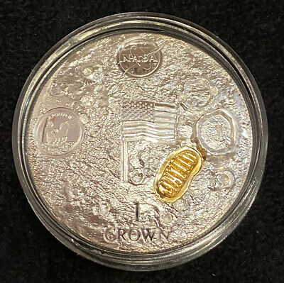 2019 Ascension Island 2oz Silver First Man On The Moon Apollo 11 Proof Gold Clad • 149.99£