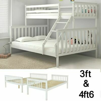 £209.99 • Buy White Double Bed Bunk Bed Triple 3 Pine Wood With Stairs Kids Children Bed Frame