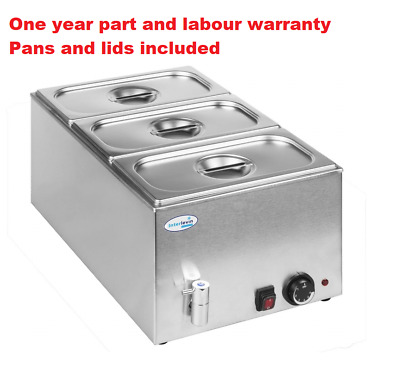 £169.99 • Buy Interlevin BM8710 Wet Well Bain Marie With Tap With 3 X 1/3 Pans And Lids
