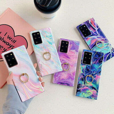 $ CDN6.91 • Buy Case For Samsung S21 S20FE A32 A52 A72 S20 Plus Marble Silicone Ring Stand Cover