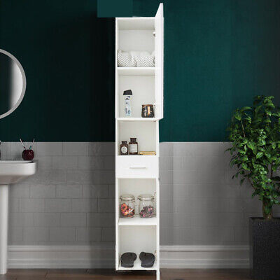 £81.86 • Buy White Tall Bathroom Cabinet Cupboard Storage Shelf For Laundry Home Furniture UK