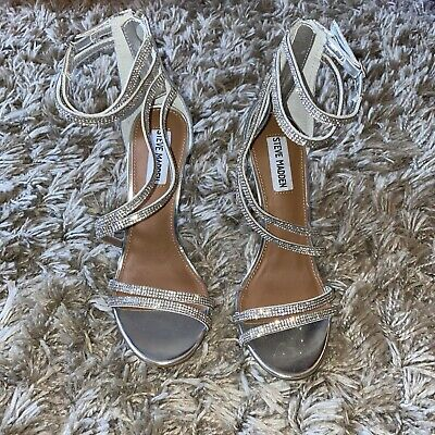 Ladies Christmas Shoes STEVE MADDEN SILVER DIAMOND STRAPPY HEELS SIZE 4.5 BN • 19.99£