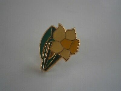Single Daffodil With Leaves And Stalk Charity Pin Badge Stud Fitting • 1.89£